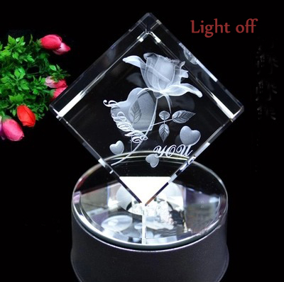 Valentine's Day Gift 3d Rose Crystal Cube With Led Base