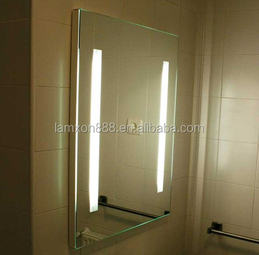 Hot selling commercial hotel anti-fog bathroom mirror with LED strip light