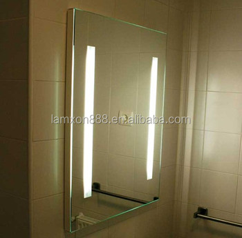 Hot Selling Commercial Hotel Anti Fog Bathroom Mirror With LED Strip Light
