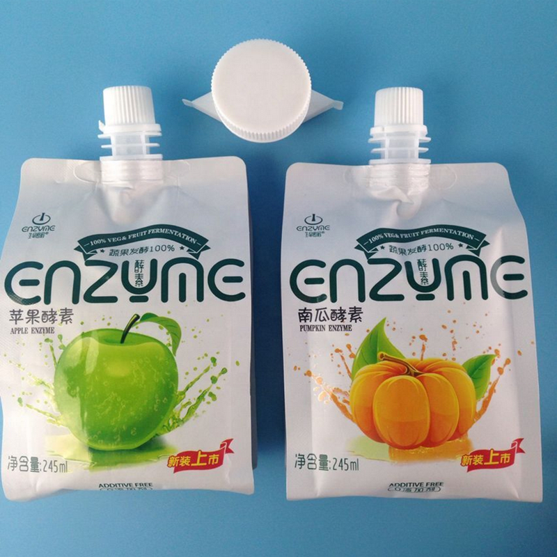 Food grade plastic soft drinks packing bags juice packaging bags with spout