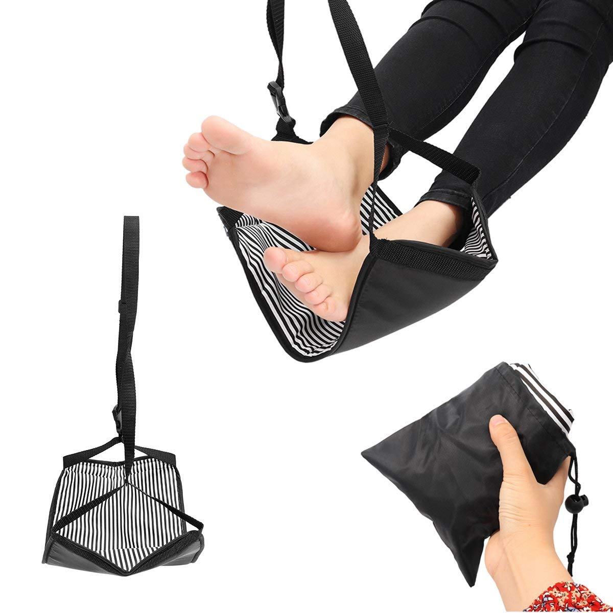 Eternal Sleep Foot Hammock Rest Travel Supplies - Portable Travel Cotton Knitted Footrest Flight Carry-On Foot Hammock Rest - Residue Understructure Knoll Remain Invertebrate Ease - 1PCs