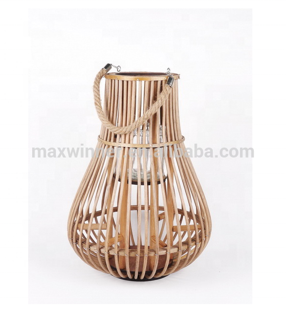 rattan candle lantern with glass cup
