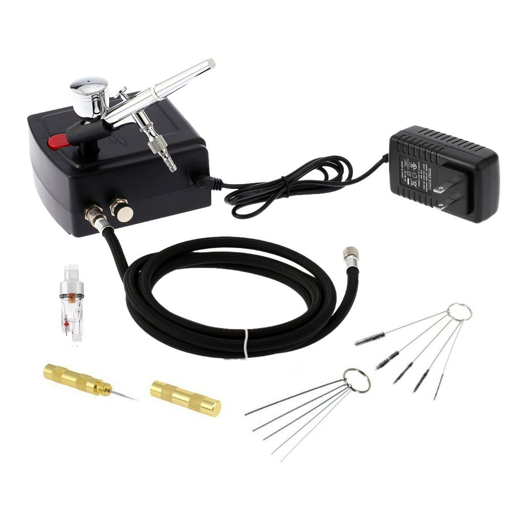 Cafego 100-250V Dual Action Airbrush Portable Airbrush Gun with Mini Compressor Kit for Make up Art Painting Tattoo Manicure Craft Cake Spray Model Air Brush Nail Tool with Airbrush Cleaning Set