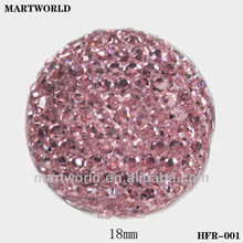 light red round shape resin flat back loose stone (HFR-001)