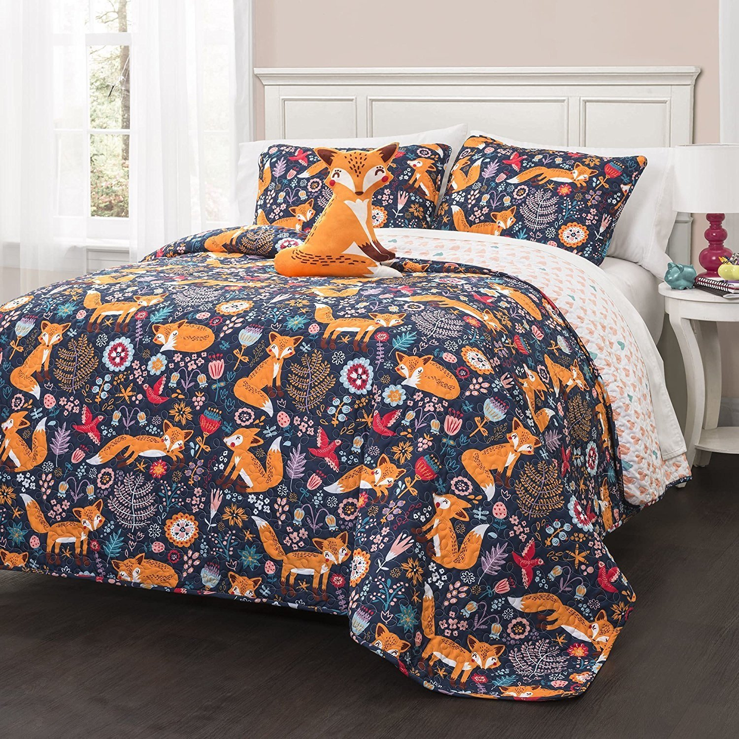 3pc Navy Blue Kids Animal Twin Quilt Set, Orange Grey Pink Frolicking Cute Fox Theme Bedding, Lightweight Floral Geometric Medallion Flowers Birds Hearts, Polyester