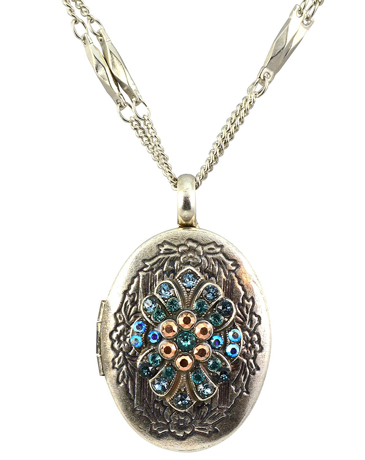 """Mariana Silver Plated """"Blue Suede Shoes"""" Crystal Locket Pendant Necklace"""