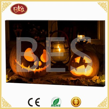Decoratives Home Decoration Halloween Theme Led Light Canvas Wall Painting