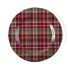 Adults kids red plaid melamine dinner plate durable eco friendly outdoor casual meals dishes bpa free plate for parties home