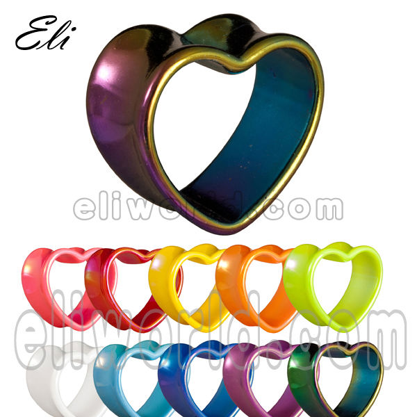 Heart shape acrylic tunnel ear body multicolor flesh jewelry