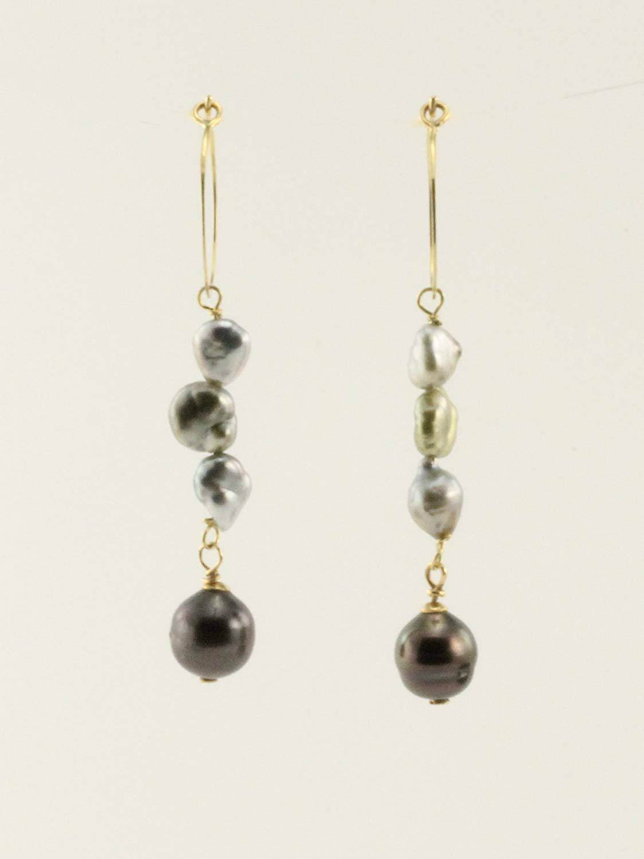 Black South Sea Pearl with Keshi Pearls Dangling Chandelier Hoop Earrings in 14 Karat Gold