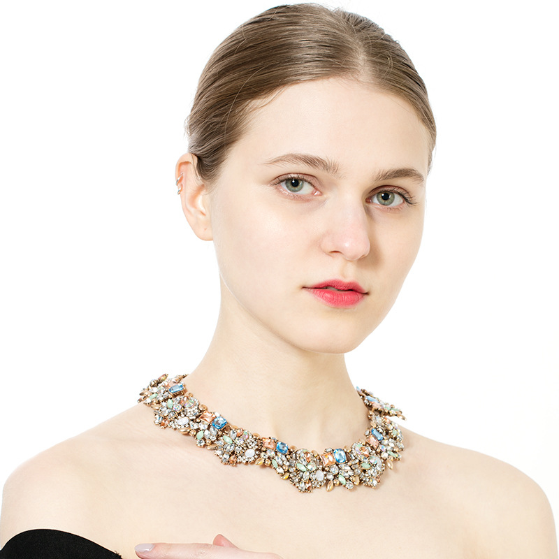 Hot New Products For 2018 Full Crystal Choker Necklace For Women Latest Fashion Jewellery