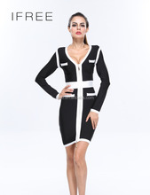 hot sale fashion women long sleeve black and white assorted color V neck bodycon ladies winter one piece dress