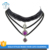 N53-109 3pcs pretty cameo geo gemstone pendant lace choker necklace sets