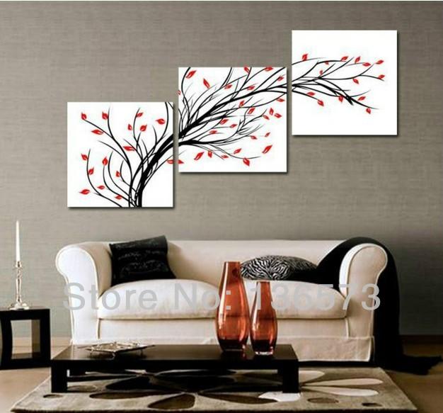Art Decor Ideas Living Rooms: Handmade Simple Abstract Painting 3 Piece Wall Art Set