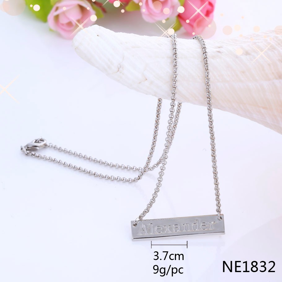 Wholesale Custom Silver Color Metal Bar Plate Engraved Word Necklace