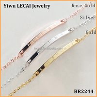 Minimal Coordinate chain bracelet Stainless steel Personalized bar bracelet Custom Name Bracelet