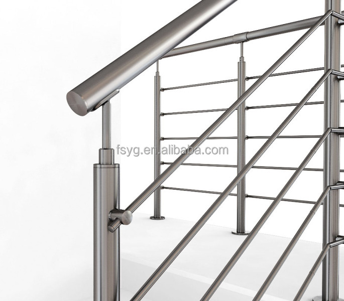 Customizable Stainless Steel Tubular Handrail For Stairs. Staircase  Stainless Steel Railing Design