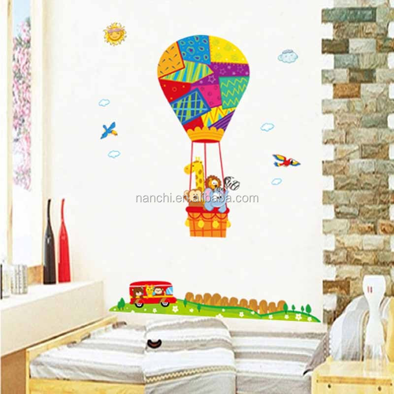Big Colorful Hot Air Balloon With Animals Wall Stickers Children Rooms  Bedroom Removable Decoration Waterproof Decal Part 98