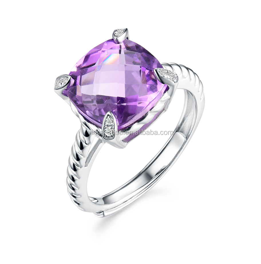 Fashionable Bijoux Chinese Silver Jewelry Sets Natural Amethyst Stone Rings for Women