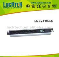 1.0U 6ways french rack PDU(power distribution equipment) with power