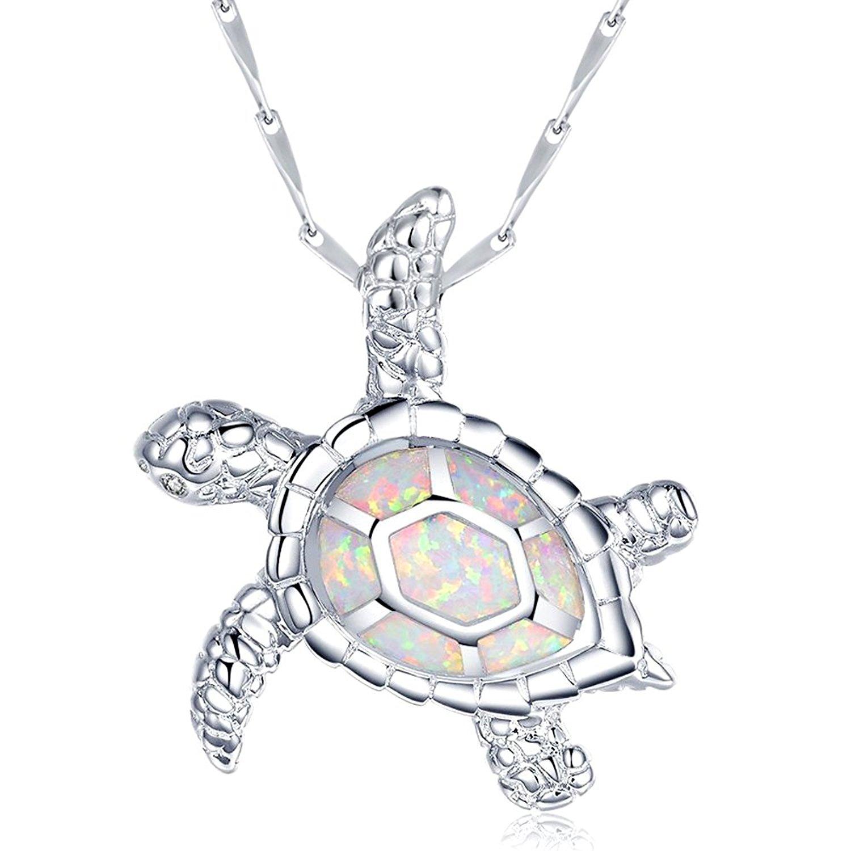 fire Opal Jewelry Opal Pendant Opal Necklace Sea Turtle Pendant Sterling Silver
