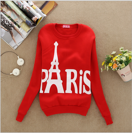 2016 Fashion Spring Fall Women s Wear Long Sleeved Slim Sweatshirts Printed Paris Pullover Sweatshirts Student