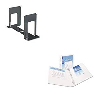 KITAVE19601UNV54095 - Value Kit - Avery Economy Showcase View Binder with Round Rings (AVE19601) and Universal Economy Bookends (UNV54095)