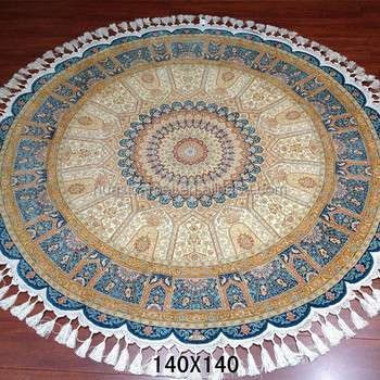 Blue 100% Silk Handmade Carpets Egypt Used Persian Rugs For Sale