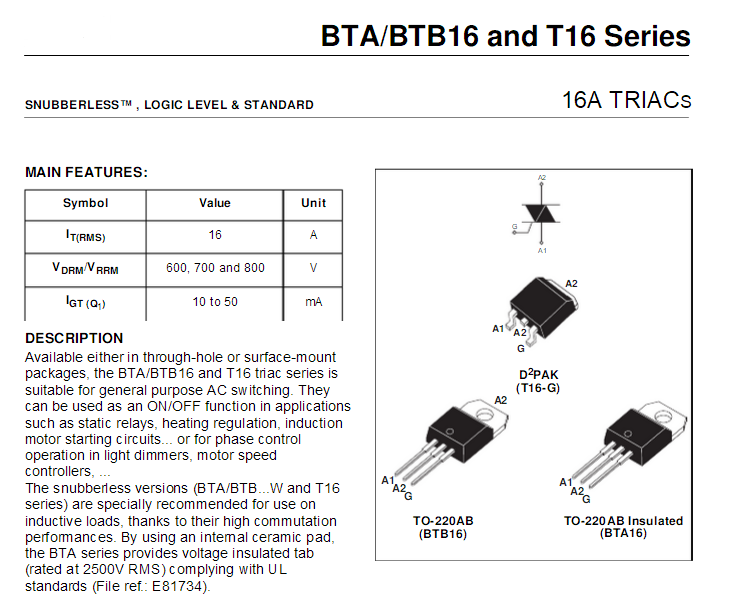 BTA16-600BRG  TRIAC Standard 600V 16A Through Hole TO-220AB