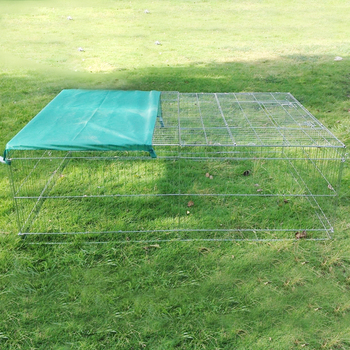 outdoor galvanized folding rabbit run cage metal enclosure with cover