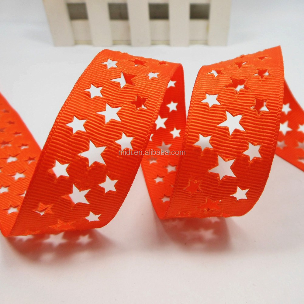 Hot sell five pointed star orange fashion hollow Ribbon hole tape 100% polyester grosgrain webbing
