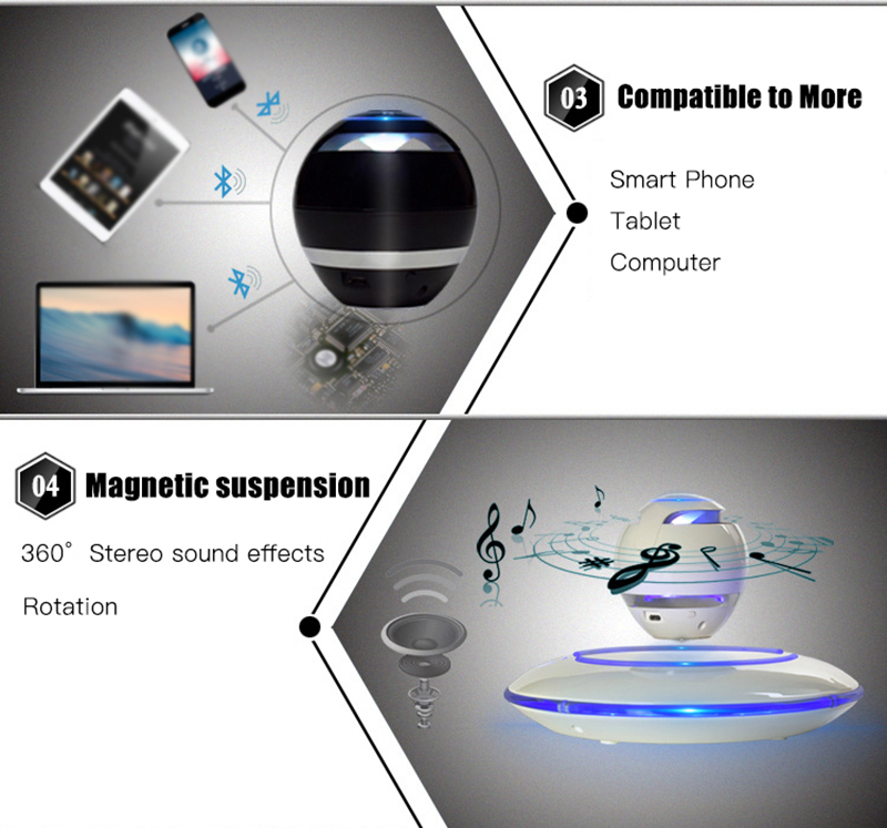 Portable Wireless Maglev Bluetooth Speaker Wireless Floating Rotating Loud Speaker Magnetic Levitation Speaker TF card support