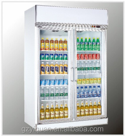 Double doors glass soft drink display refrigerator showcase refrigerator, beverage upright cooler