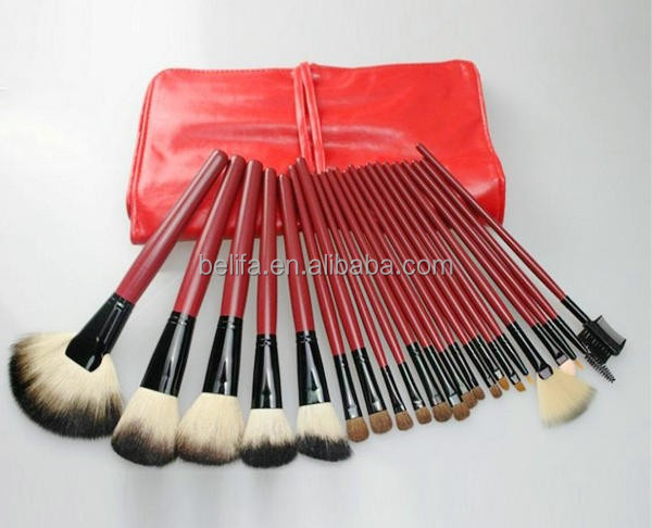 Facial Makeup Brush Sets 22pc oem Red PU Pouch Trendy Makeup Brush Kits