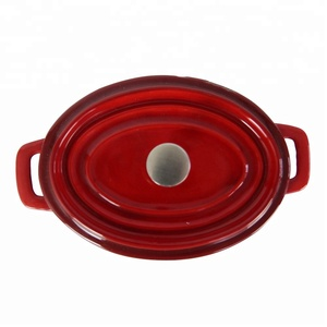Enameled Oval Mini Cast Iron Dutch Oven