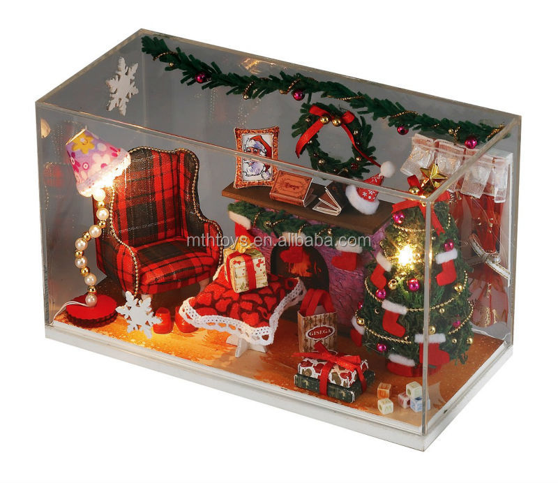 DIY doll house (Voice control music and light)with doll and tree, new toys for christmas 2014