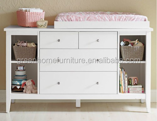 White New Zealand Pine Baby Change Table 4 Chest Of Drawers With Change Pad