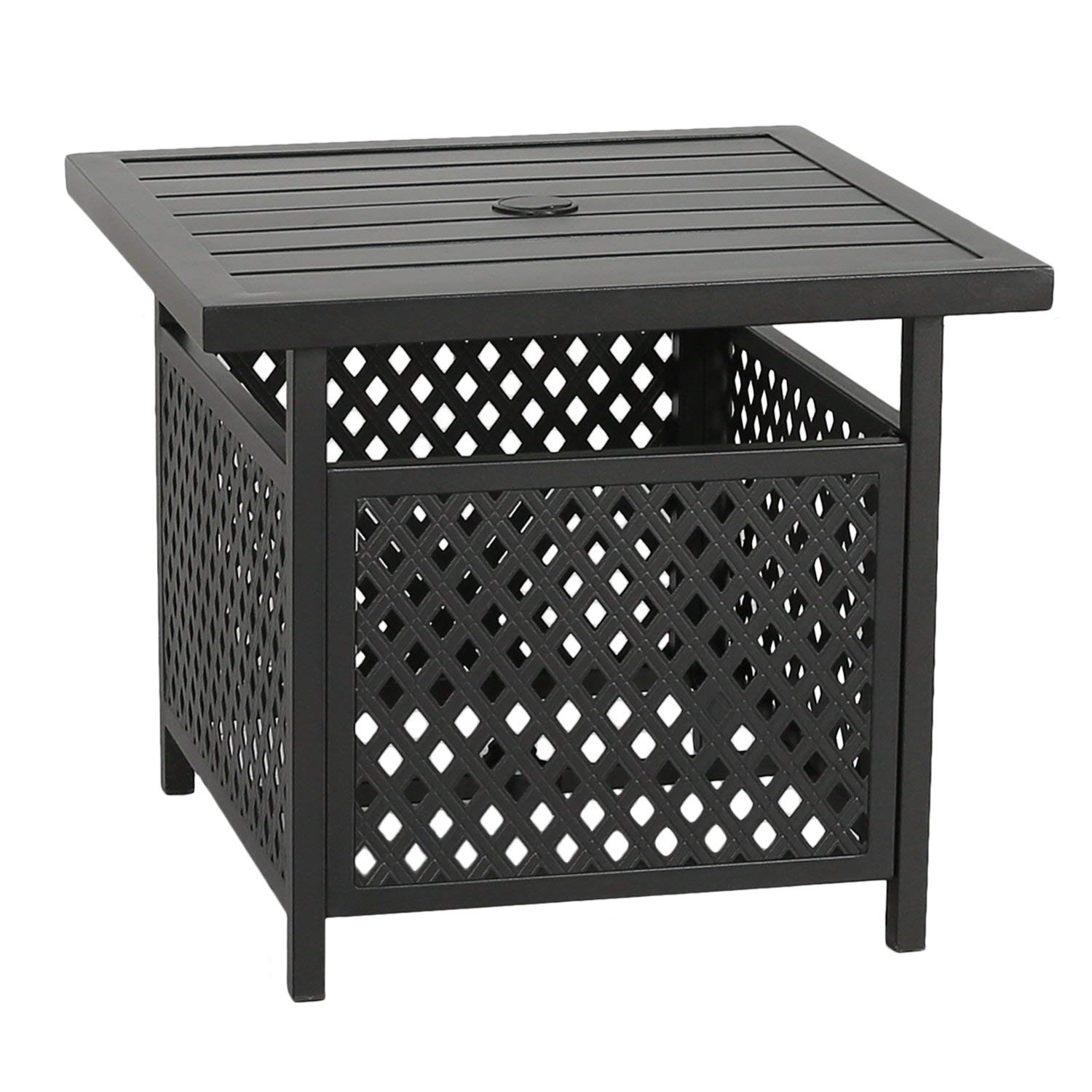Patio Tree Outdoor Steel Umbrella Stand Side Table Bistro Base With Hole