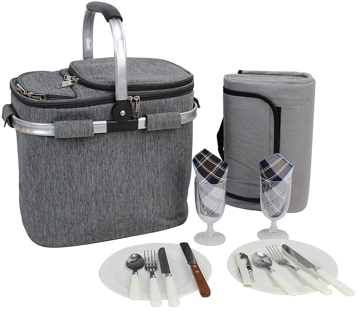 Picnic Insulated Tote Set for 2 | Picnic Basket | Sewn in Aluminum Frame and Handle | Drinks Cooler Bag | Collapsible Cooler Basket | Family Vacations Parties Outdoor Travel | Keep Food Cold Storage