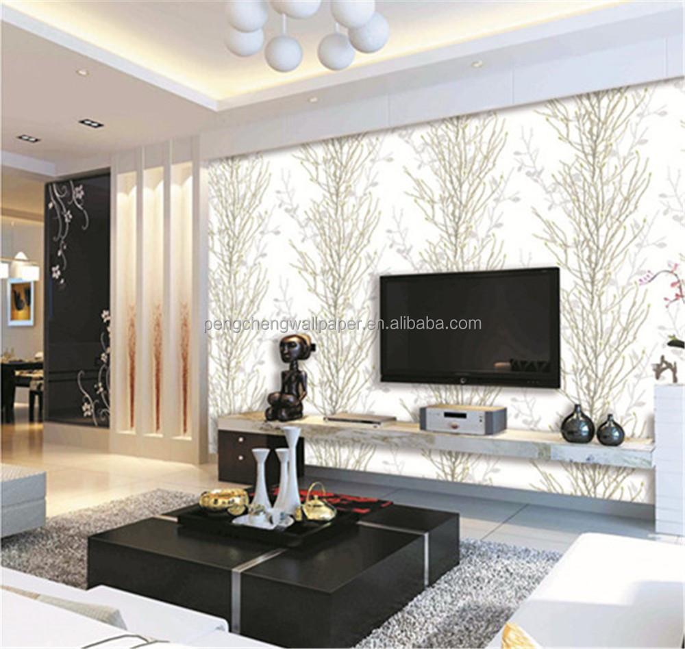 Mooi wallpapers natuurlijke boom ontwerp glanzende pvc behang voor thuis hotel kantoor - Decoratie kantoor ...