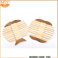 Fishbone Shaped Coaster Heat Insulated Pad Bamboo Mat Placemat Tablemat