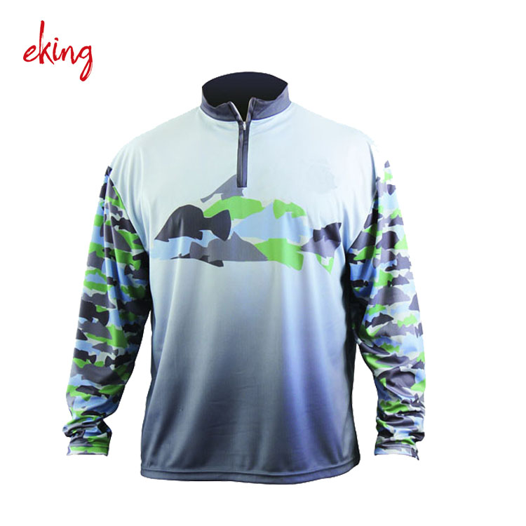 Long sleeve full button blank fishing jersey for men