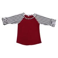 Fashion burgundy houndstooth ruffle raglan and icing leggings kids clothing
