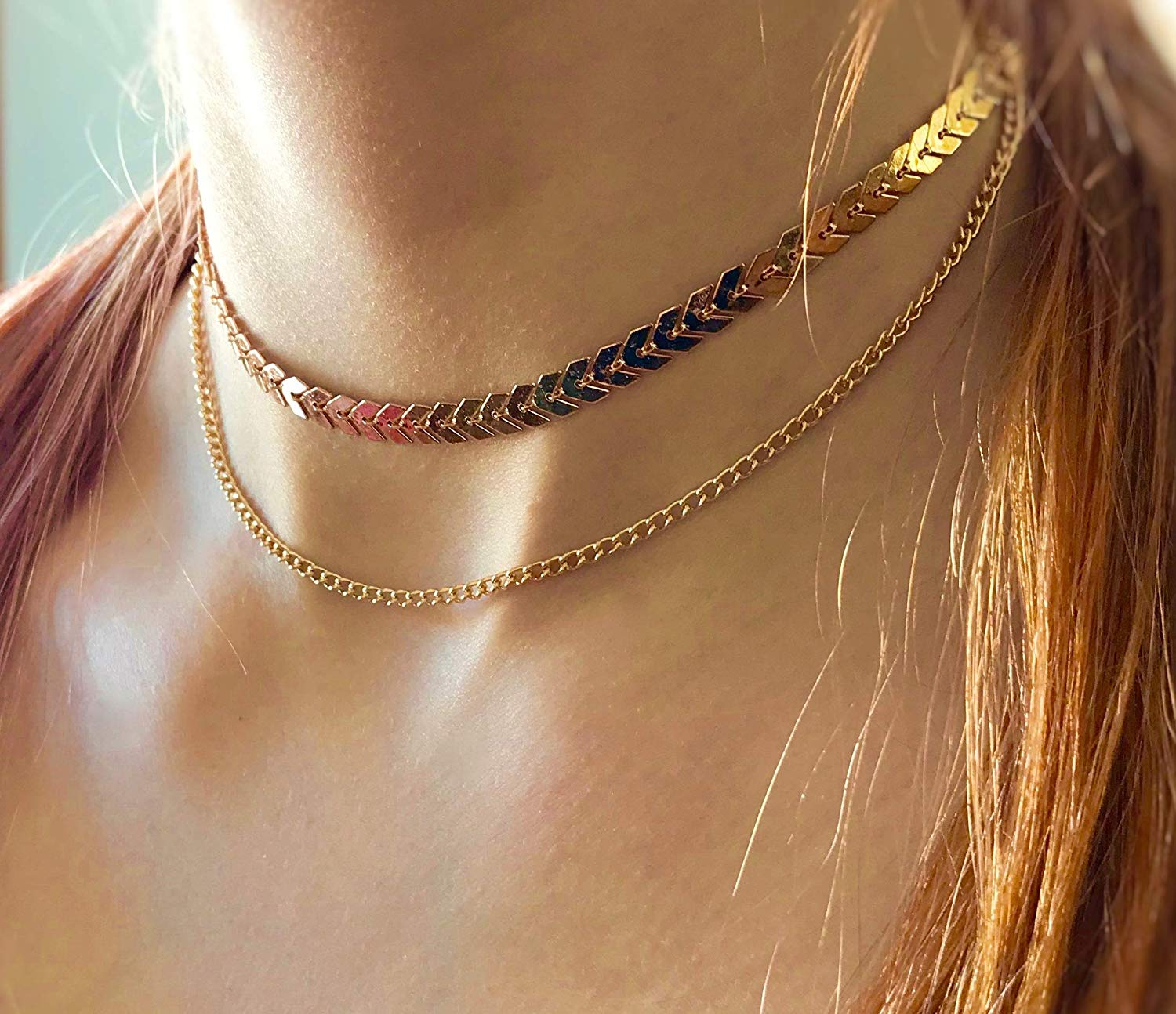 28ea57919b3168 Get Quotations · Woman's 2 Strand Fishbone Herringbone Choker Chain Necklace  Chevon Airplane Leaf Minimalist Style Jewelry