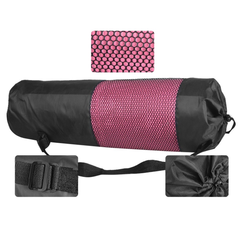 Zwart nylon mesh carrier yoga mat tas
