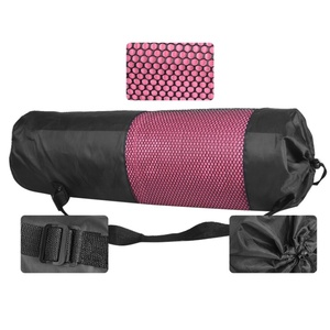 Black nylon mesh carrier yoga mat bag