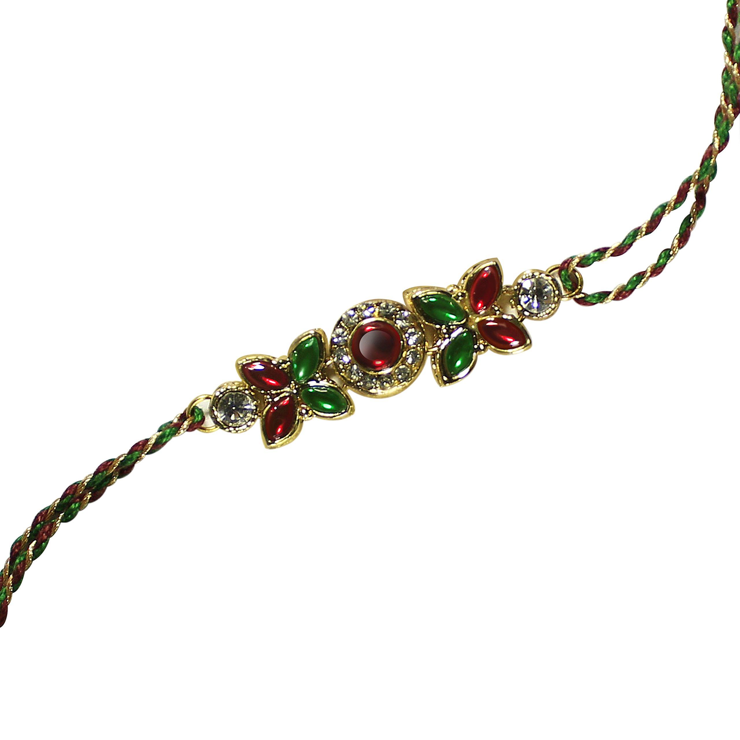 Rakhi Thread for Brother for Raksha Bandhan Handmade Gold Om Design Silk Rakhee Rakshabandhan Bracelet with Resin /& Motif in Kundan Design