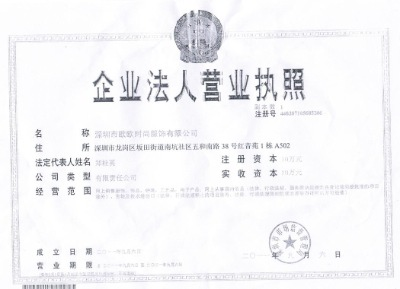 Bussiness License by China Mainland