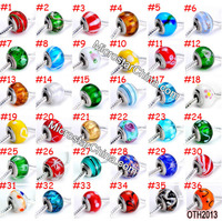 wholesale IN Stock mixed best selling lampwork glass Large hole cheap charms european beads