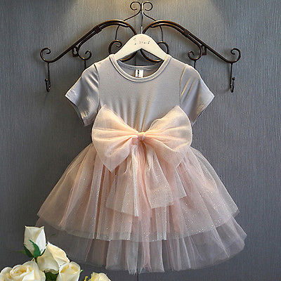 Hot Princess Baby Girls Sequins Tulle Bow Short Sleeve Gown font b Fancy b font Party